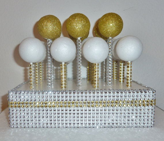 gold silver bling wedding cake pop stand rustic glam rhinestone white display stick holder candy dessert table bar buffet birthday party