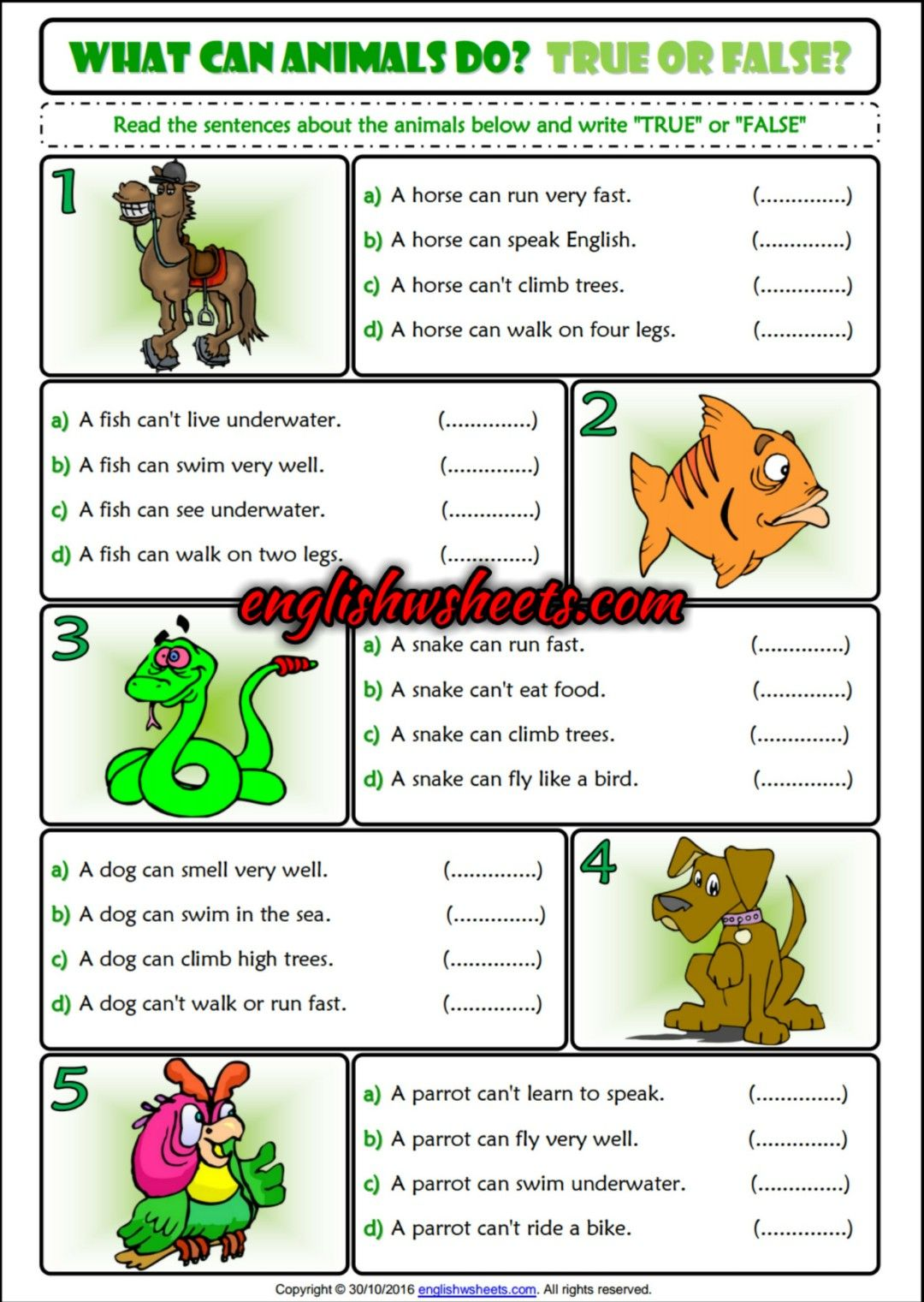What can animals do? True or False ESL Printable Grammar Exercise ...