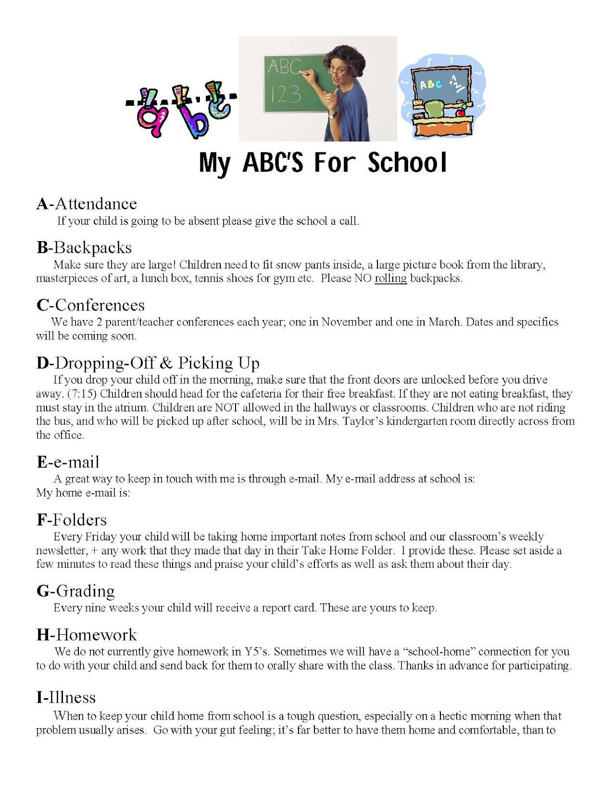My Abc S Of School Information Sheet