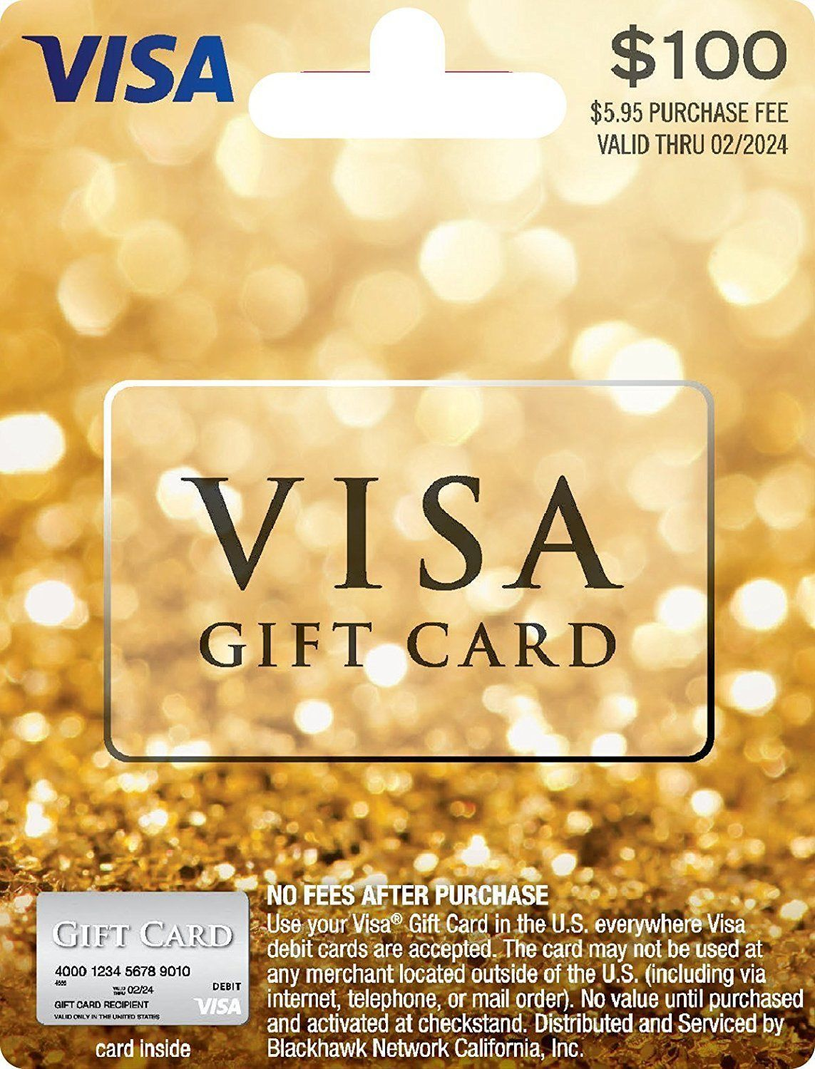 Gift Cards: $100 Visa Card. Activated, No Fees, Free Super-Fast 2 ...