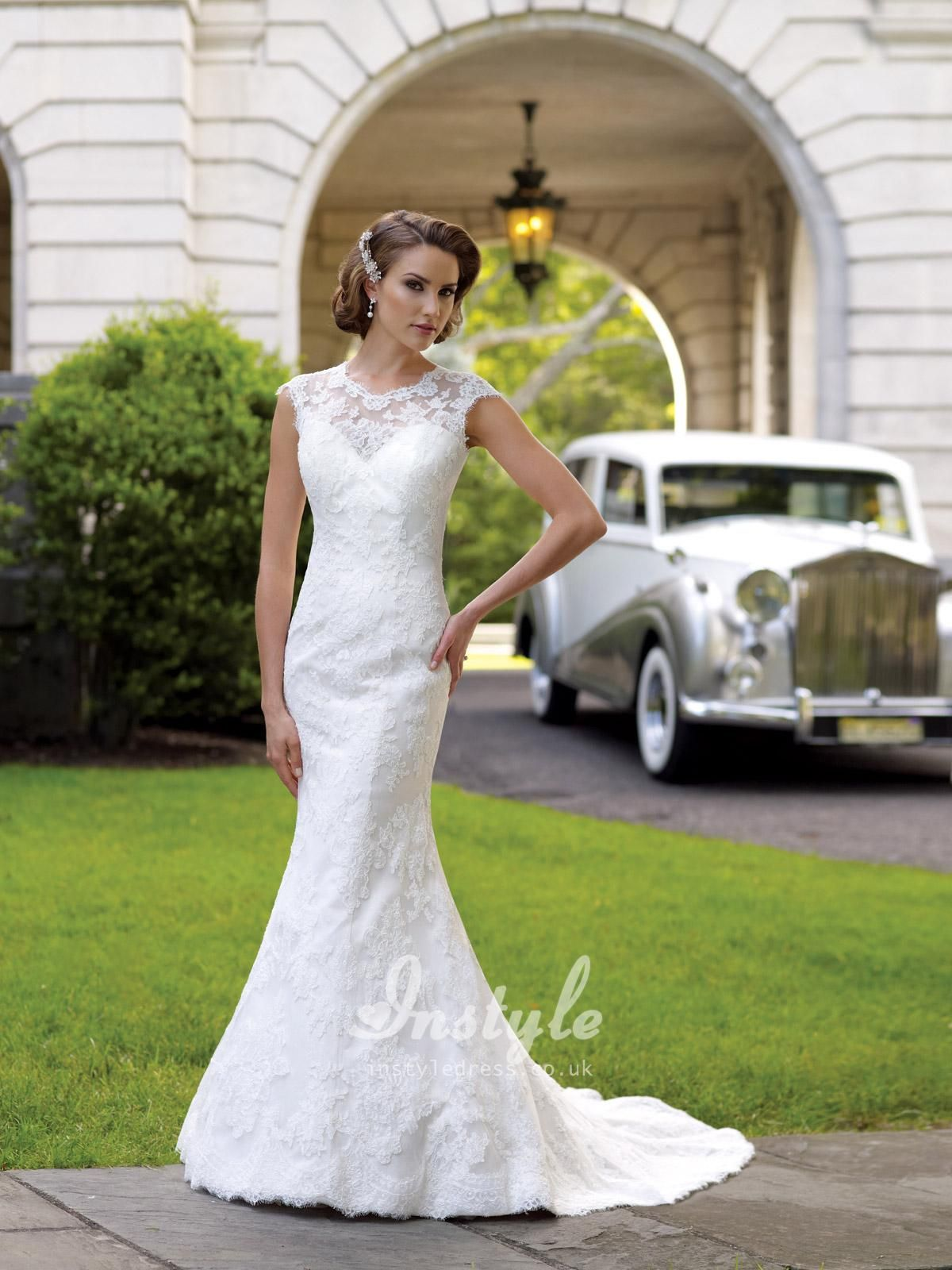 Lace Over Satin Mermaid Wedding Dress UK with Illusion Neckline and ...