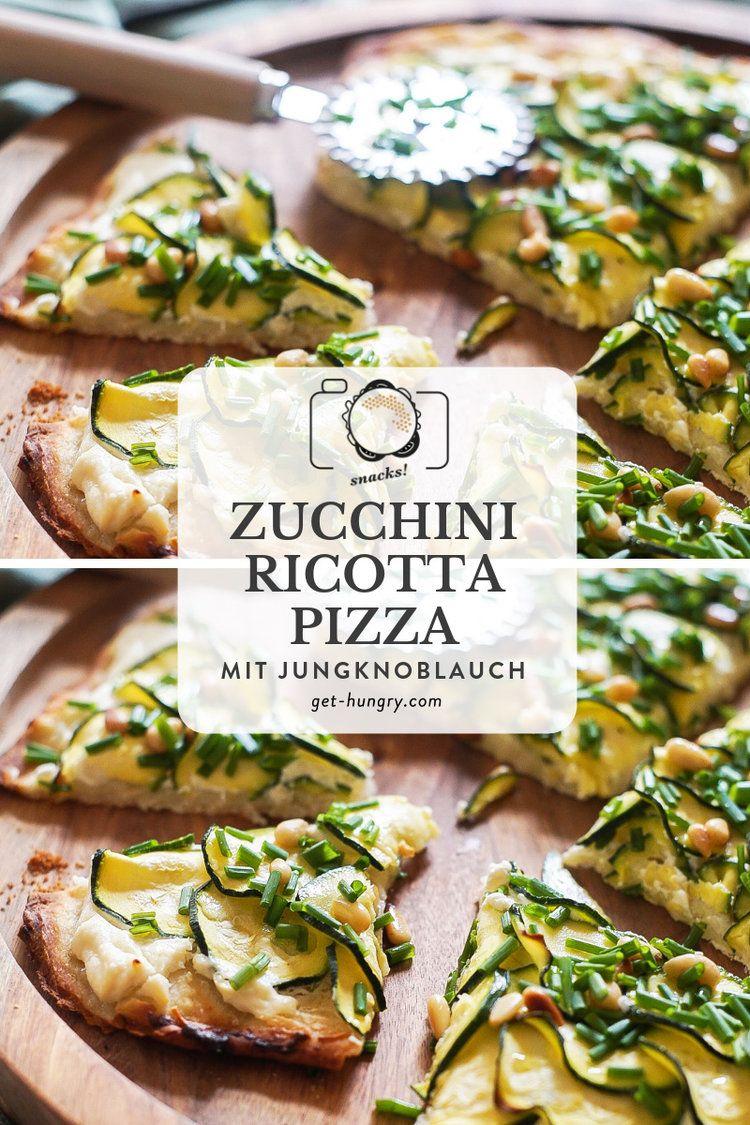 Zucchini-Ricotta-Pizza mit Jungknoblauch und Pinienkernen #pizzateigmittrockenhefe