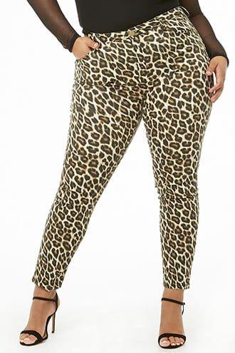 3538bef4a83 Plus Size Leopard Print Skinny Jeans