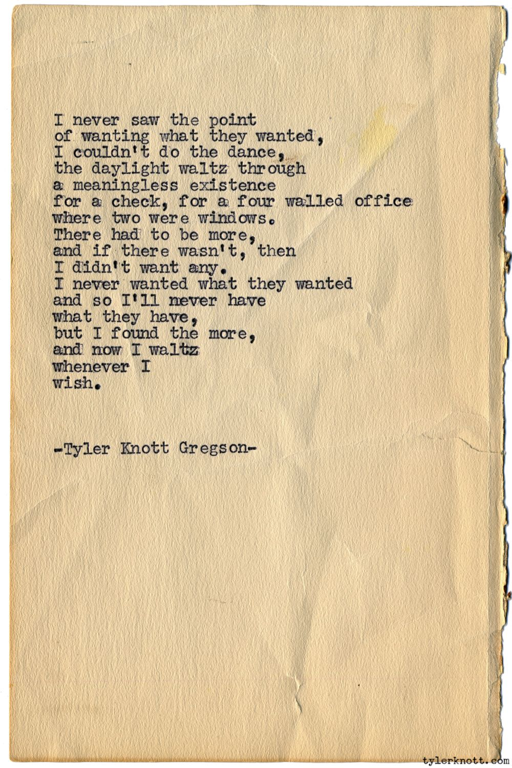 Typewriter Series 1113 By Tyler Knott Gregson Chasers Of The