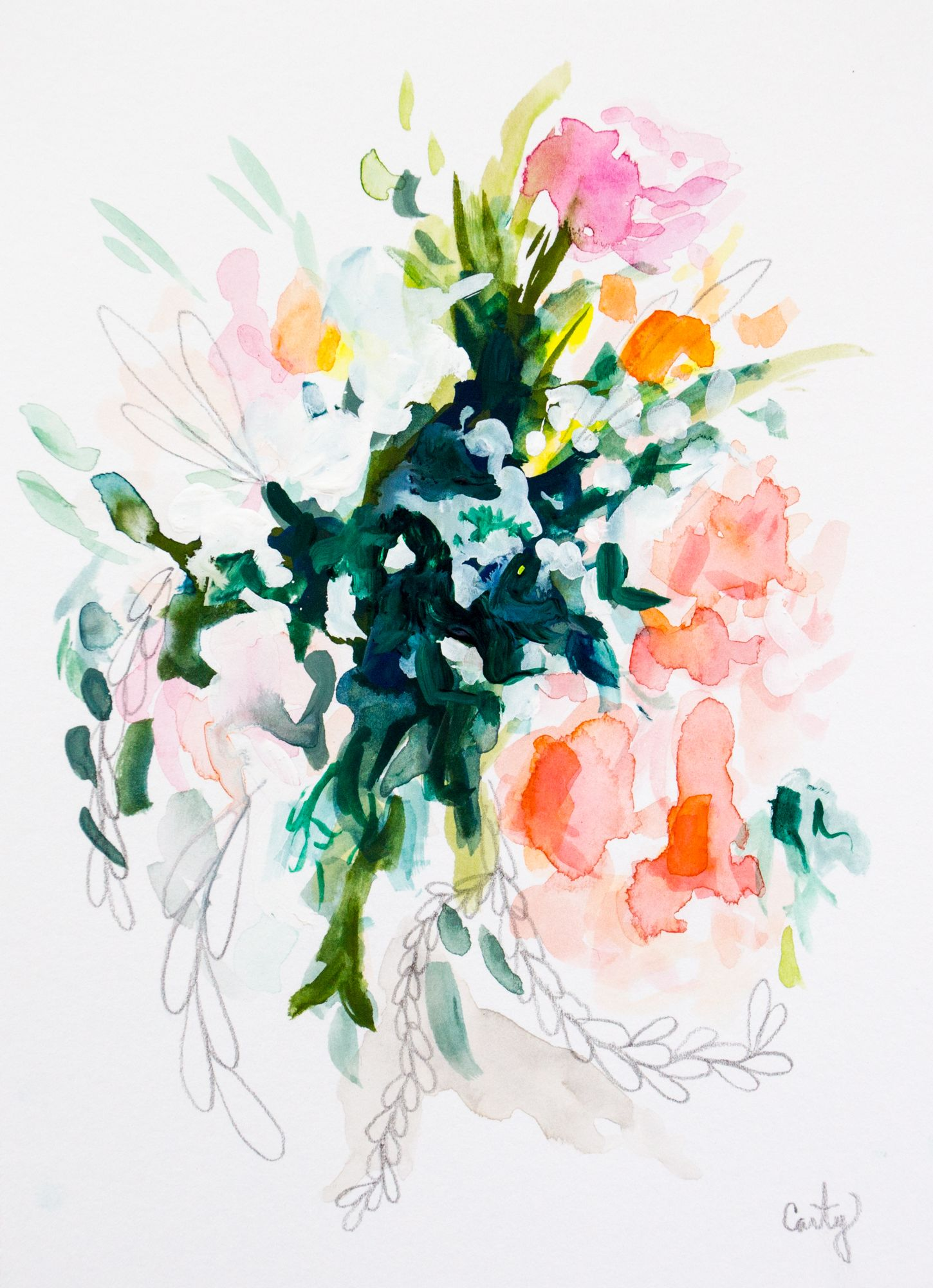 Floral Painting Abstract In Watercolor Megan Carty