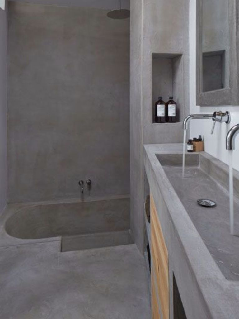 Concrete Bathroom With Soaking Tub And Built In Vanity Masculine Modern