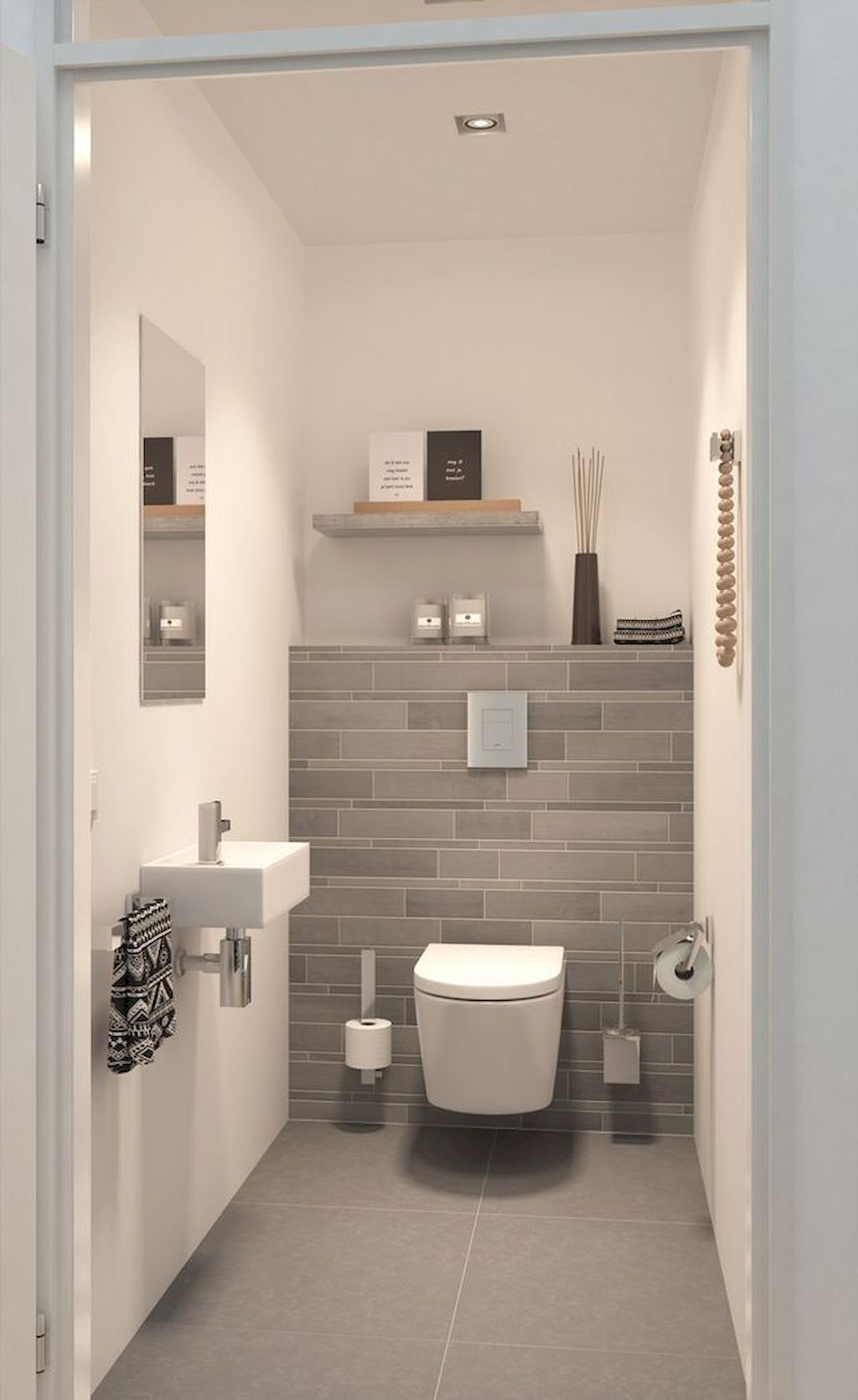 Small Bathroom Tiny Powder Room Room Dimensions 44 X 33 It Can Be Done Caroma Profile Smart 305 Toile Tiny Powder Rooms Powder Room Small Small Bathroom