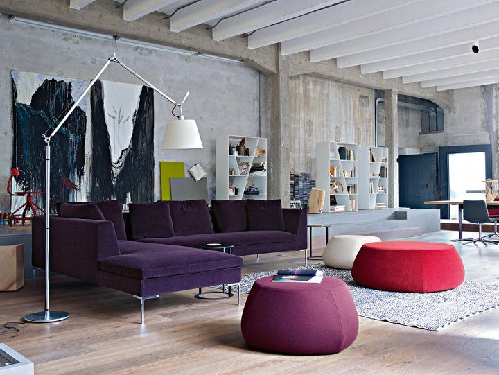 B Italia Charles sofa and FatFat ottomans from Space Furniture Sydney.