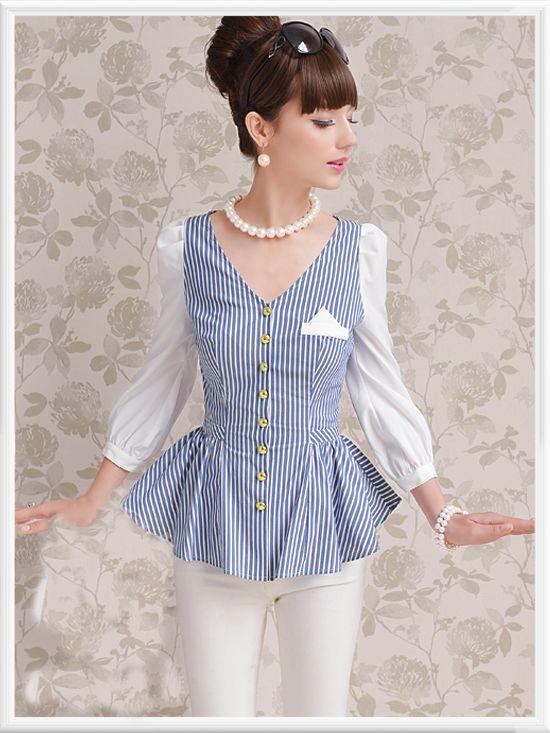 Morpheus Boutique  - Blue Stripe V Neck Long Sleeve Pleated Button Down Shirt