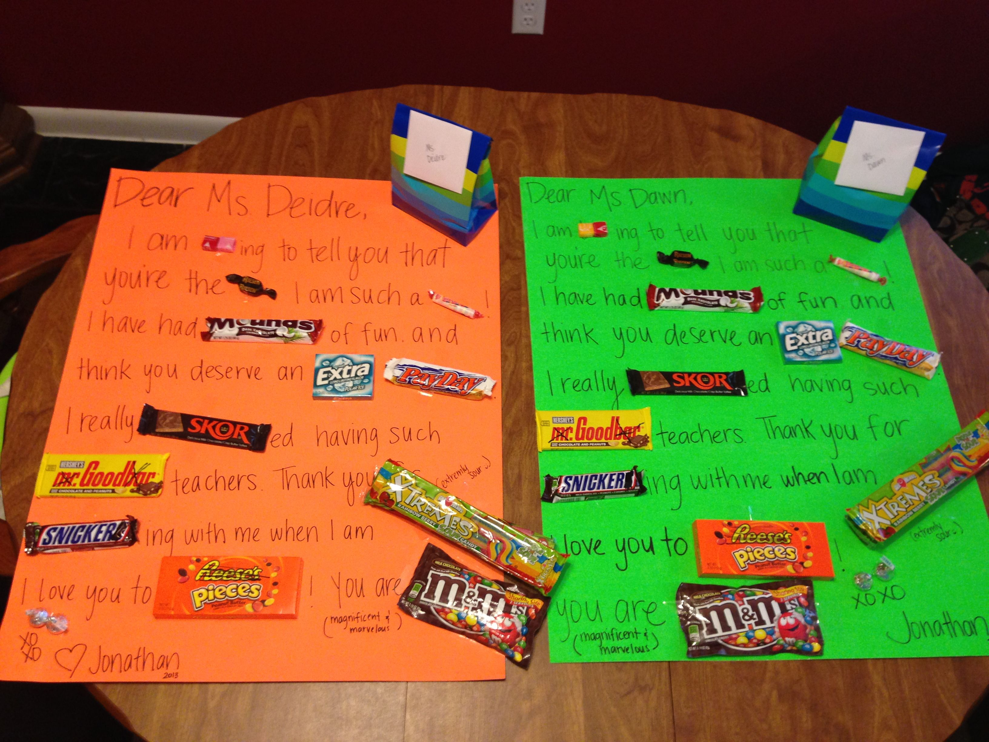 Teacher thank you gifts. Candy bar poster board! | jonathan ...