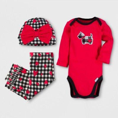 46dc3b641 Gerber Baby Girls' Dog 3pc Long Sleeve Onesies Bodysuit, Pants and Hat Set  - Red 0-3M