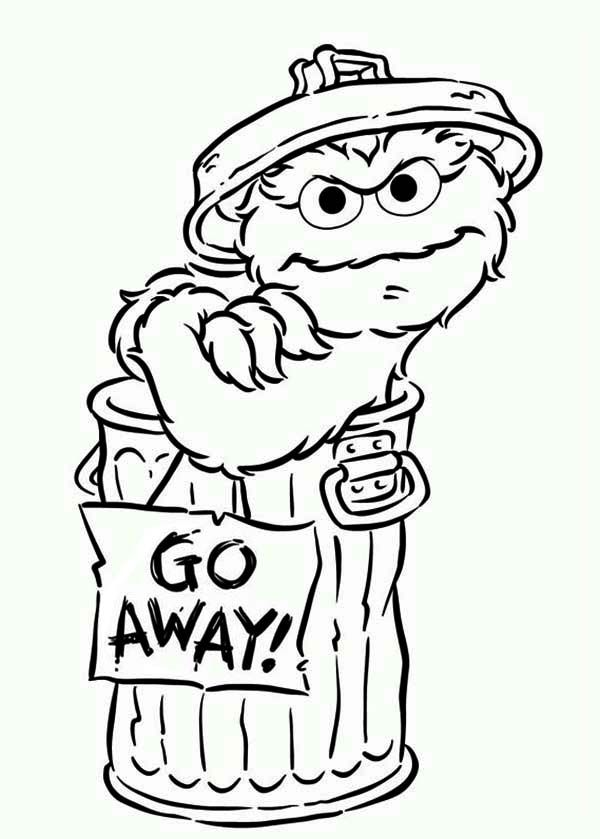 Oscar Say Go Away In Sesame Street Coloring Page Oscar Say Go
