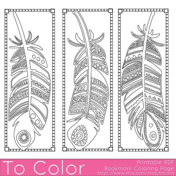 Bedruckbare Feathers Coloring Page Bookmarks für Erwachsene, PDF/JPG, Instant Download, Coloring Book, Coloring Sheet, Grown Ups, Digital Stamp #coloringsheets