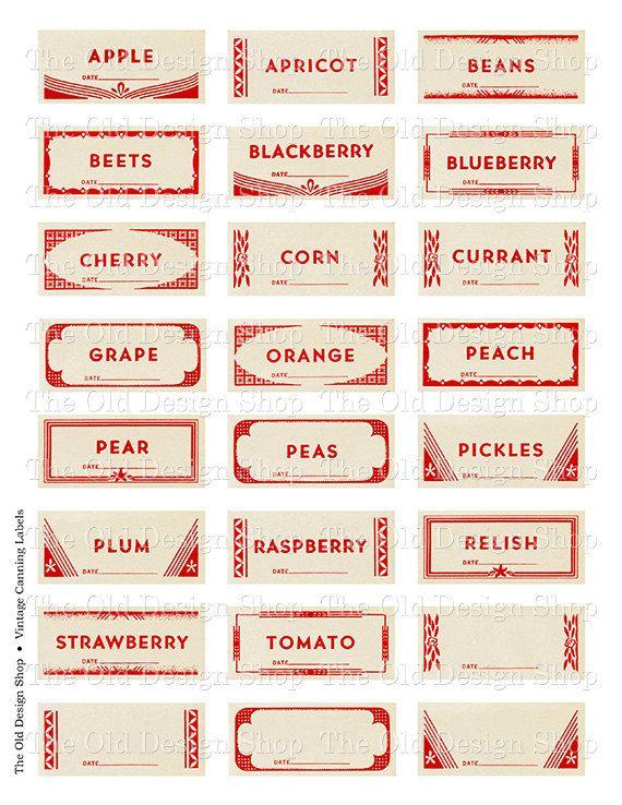 Mason Jar Labels Vintage Canning Fruit Vegetable Printable Digital