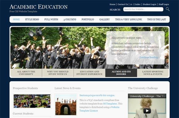 Academic education free website template designarts pinterest website academic education free website template pronofoot35fo Images