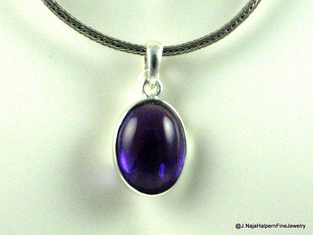 Natural Amethyst For Women Sterling Silver Handmade Birthstone Pendant Chakra Healing Handmade Necklace