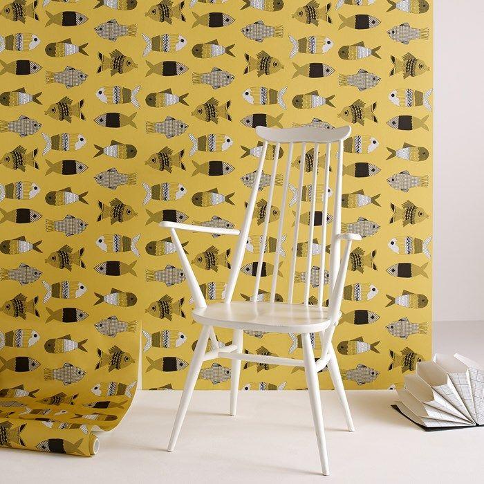 Fishes Mustard Yellow Wallpaper - Fish Wall Decor by Graham Brown ...