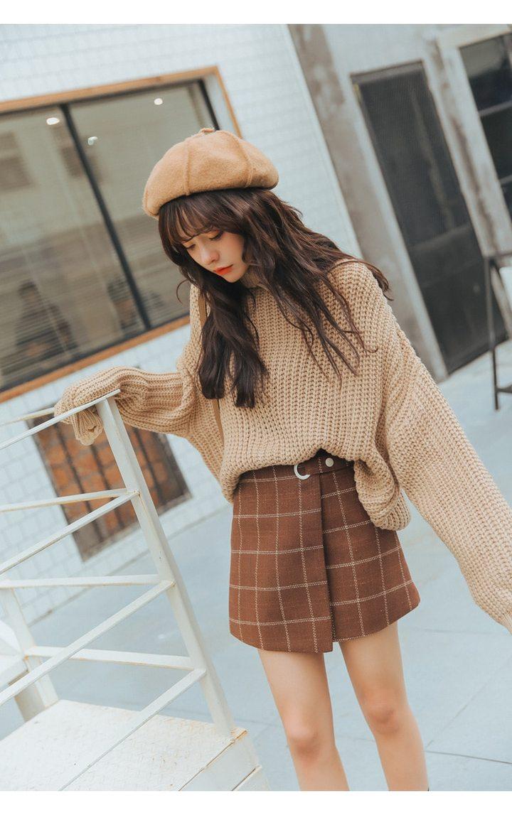Photo of Thickened Woolen Plaid Retro Skirt Cute Skirts