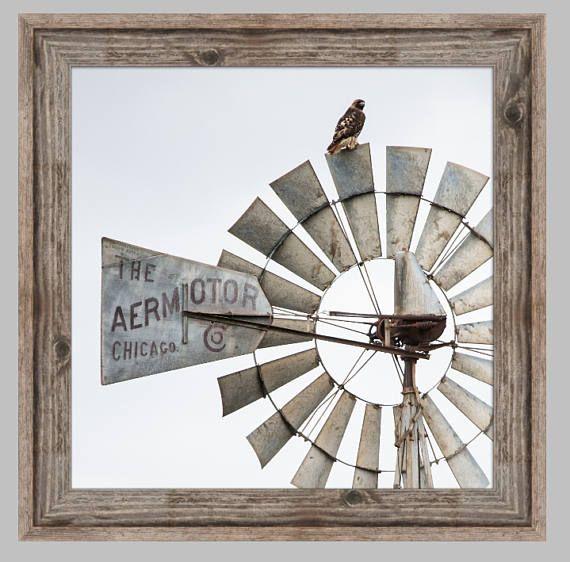 Western Decor, Western Wall Art, Rustic Wall Art, Western Art, Farmhouse Wall  Decor, Farmhouse Art, Photo Or Canvas Of A Hawk On A Windmill