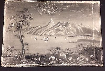 19thc antique Sandpaper Drawing / Marble Dust Art Painting with Chinese Influence