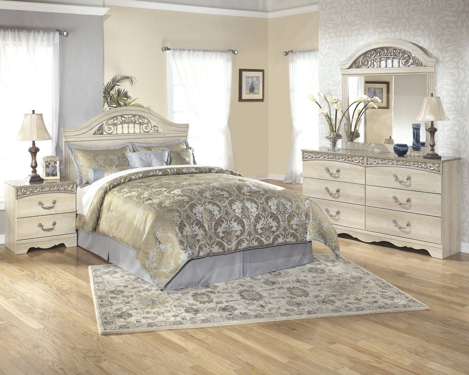 Ashley Catalina 5pc Queen Full Panel Headboard Bedroom Set With Two Nightstands In Antique White Details Can Be Found By Clicking On The Image