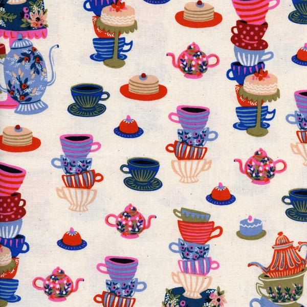 Mad Tea Party Neutral by Rifle Paper co for Cotton & Steel Fabric by EcoSewnCo on Etsy