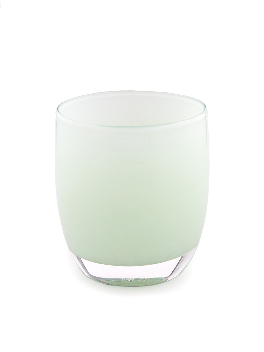 "Hand Blown Glass Art Shop | ""given to fly"" white green Candle Holder and Vase"