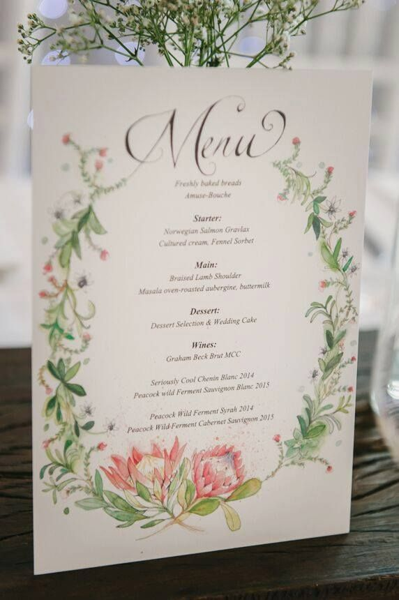 Protea Wedding Menu   Pinteres