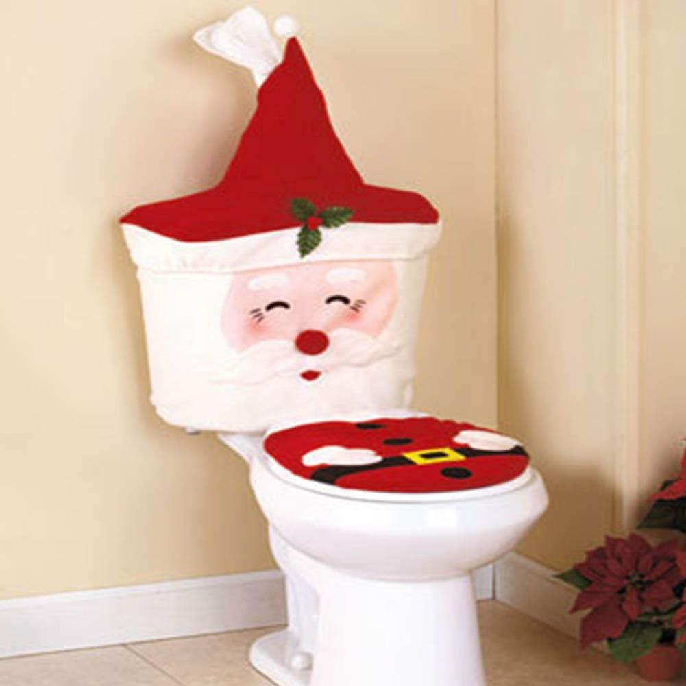 2Pc Set New Year Best Gift Happy Christmas Santa Toilet Seat Cover Water Tank Plus Paper Decorations