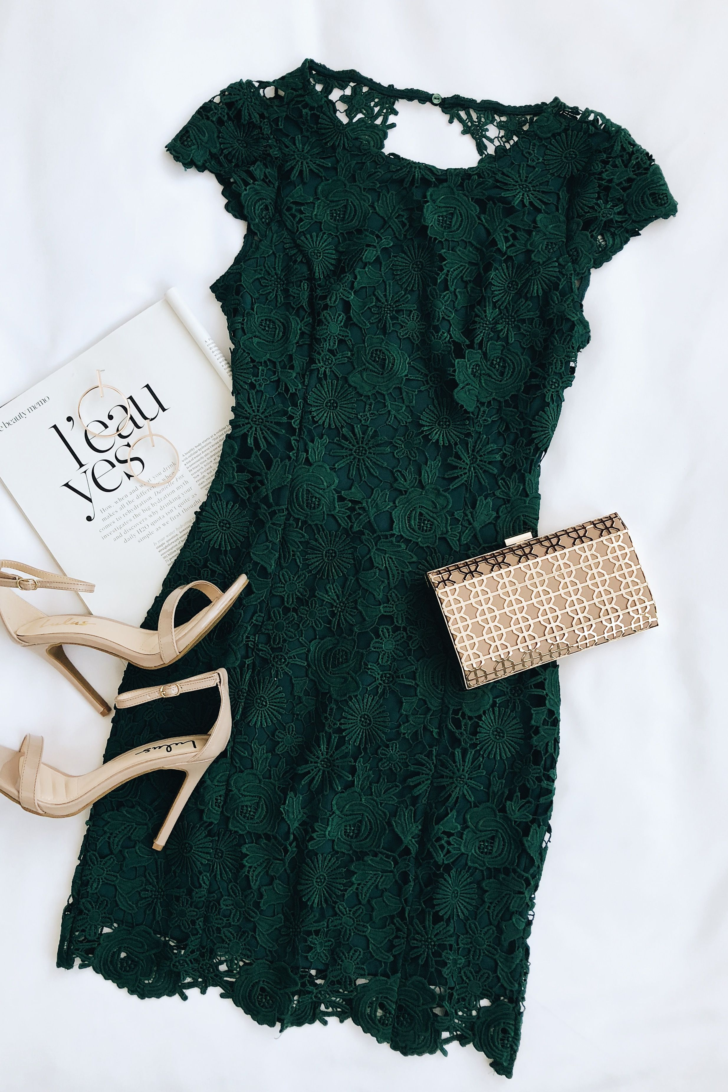 Romance language dark green backless lace dress in outfits