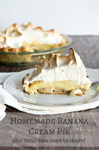 A Homemade Banana Cream Pie recipe just like what grandma used to make! Fluffy meringue and a flaky pie crust make this pie extra special.  #pie  #thanksgivingrecipes #desserts #dessertfoodrecipes #foodphotograpy #banana #pierecipe #bananapie