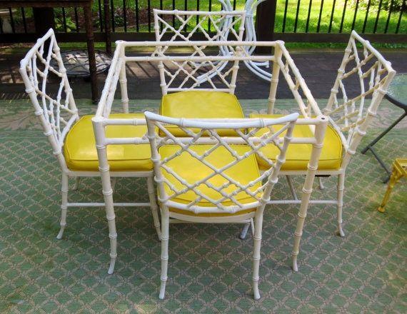 Kessler Cast Aluminum Faux Bamboo Chairs Dining Bamboo Chair Faux Bamboo Patio Table Set