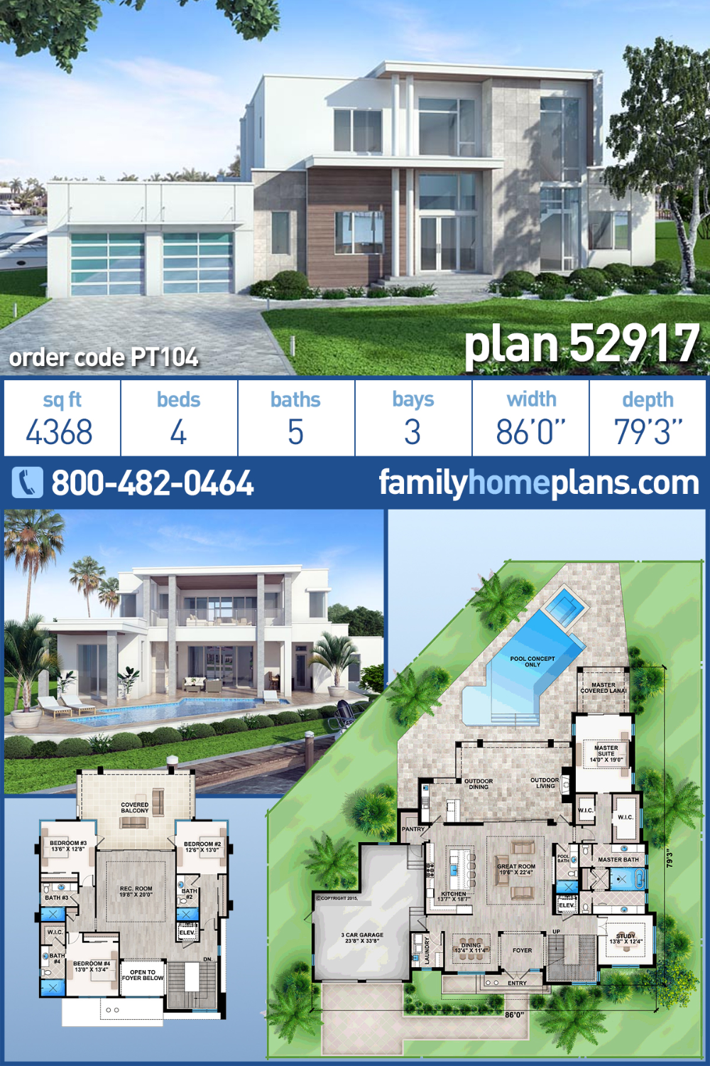 Modern Style House Plan 52917 With 4 Bed 5 Bath 3 Car Garage Modern Style House Plans Modern House Floor Plans Contemporary House Plans