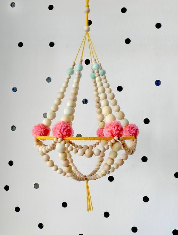 Wooden beads and pompons crown chandelier, hanging decor, nursery mobile, pajaki inspired