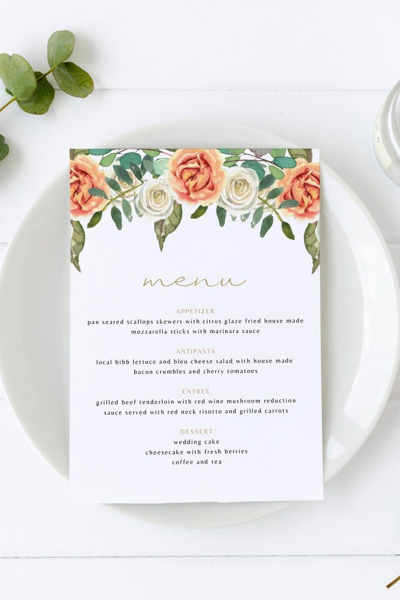 Brooks - Peach Floral Wedding Menu Template, 5x7 & 4x8 Wedding Menu Printable, Rustic Wedding Menu, Barn Wedding Menu Instant Templett #weddingmenutemplate