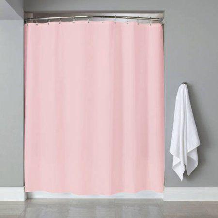 Vinyl Shower Curtain Liner Chrome Roller Hook Set Anti Mildew Pink