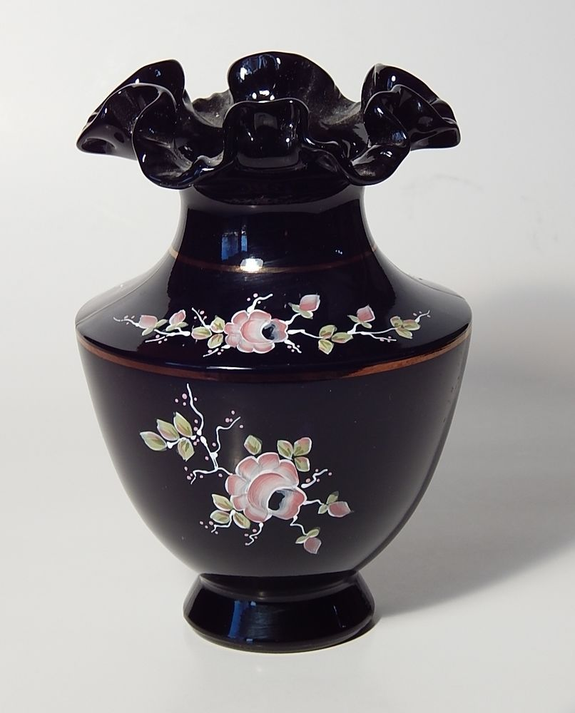 "FENTON Art Glass Hand Painted Artist Signed 7"" Black Ruffled Vase w/ Pink Roses"