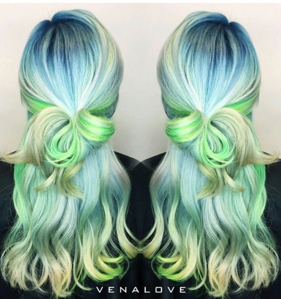 Blue green pastel hair color venalove kolorowe włosy pinterest