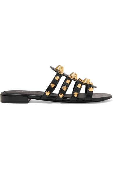 Giant studded croc effect leather slides | Studded sandals