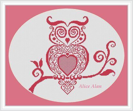Cross Stitch Pattern Bird Owl Vintage owl pink black brown ...