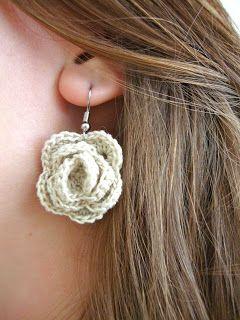 Crochet thread rose earrings.  Cute.