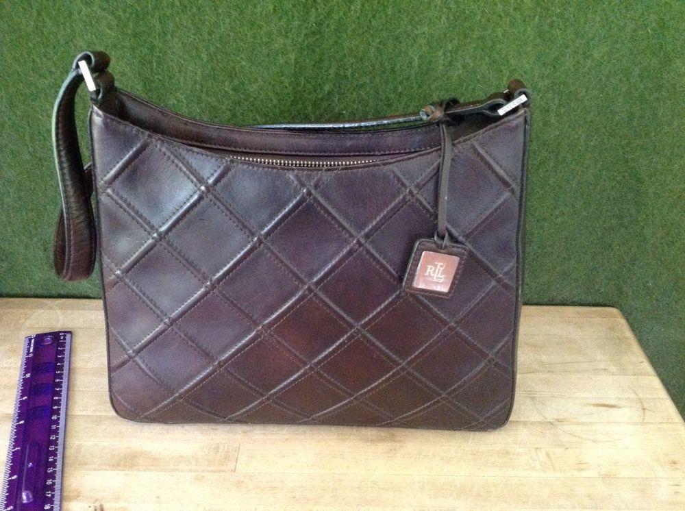 Vintage Ralph Lauren Quilted Brown Leather Women s Shoulder Bag Purse NWOT   fashion  clothing   be2b5a1935b93