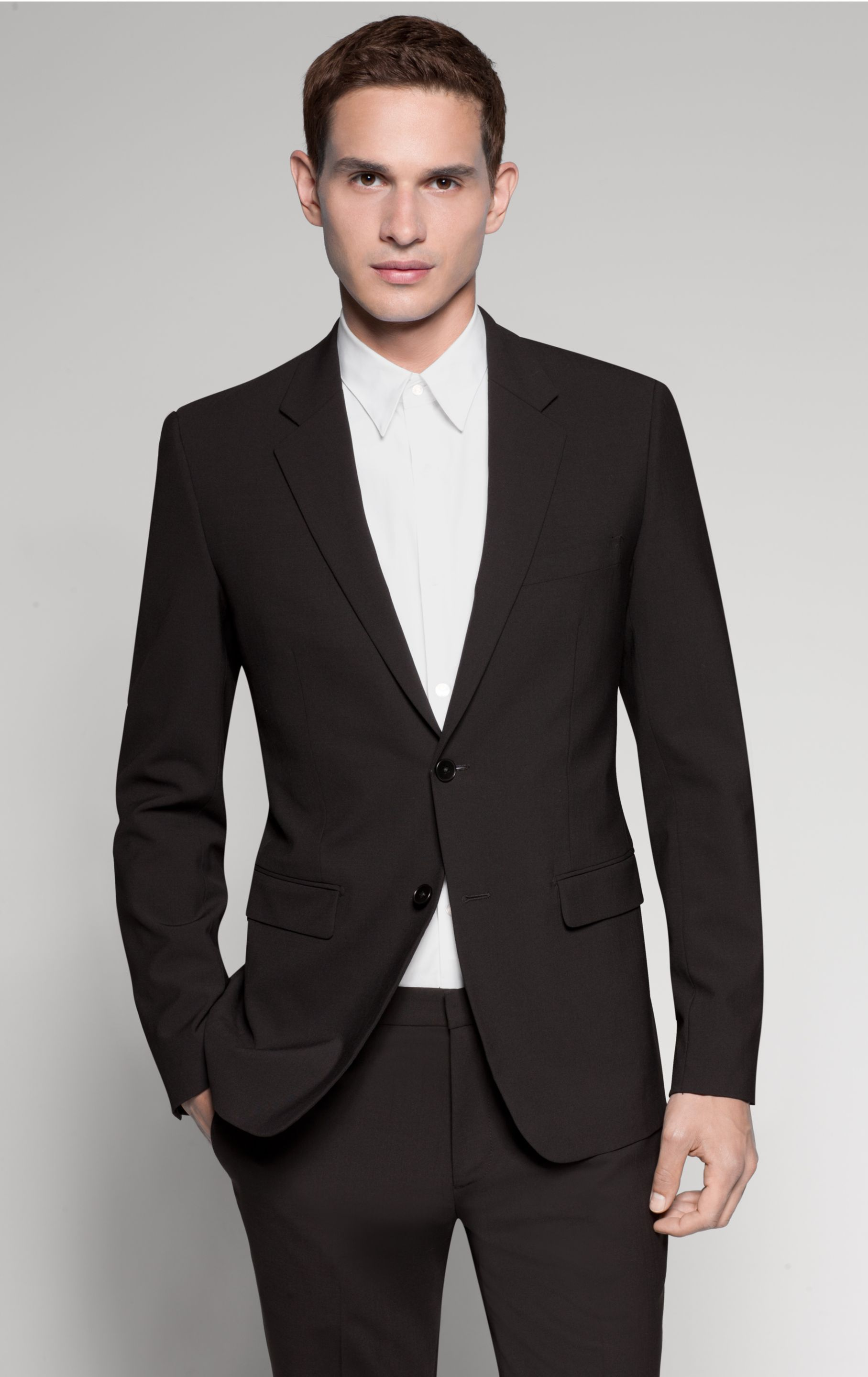 sharp suit, I'd like it with a skinny black tie or a white