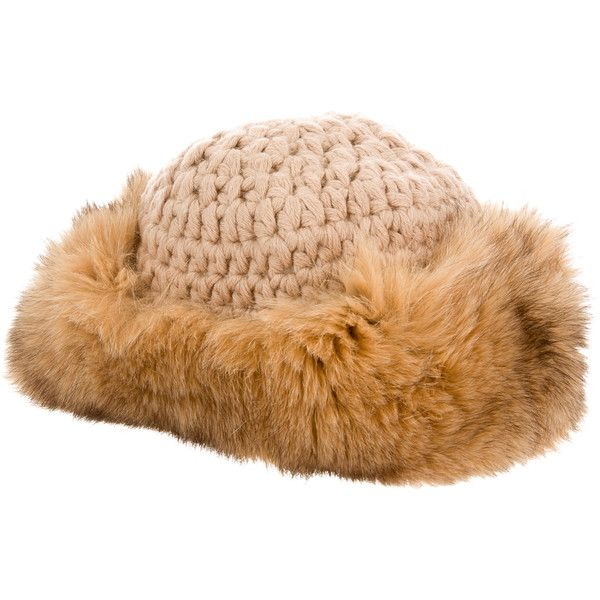 Pre-owned Cassin Fox-Trimmed Baby Alpaca Hat ($225) ❤ liked on Polyvore featuring accessories, hats, brown, tan hat, brown hat, cassin and fox hats