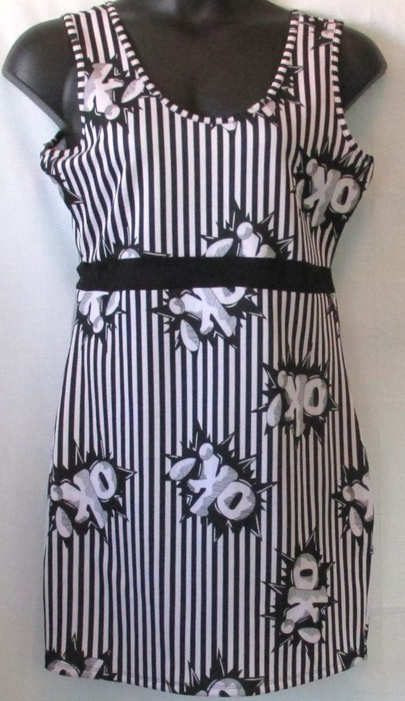 839d3227a48 Rue 21 Plus Size Black and White Fitted Mini Dress With Words OK Design Size  XL  Rue21