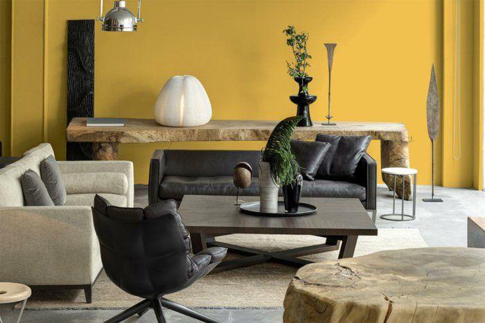 wohnideen wohnzimmer rustikale elemente gelbe wände schwarze ... - Wohnideen Wohnzimmer Rustikal