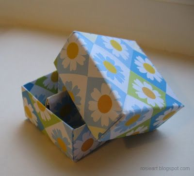 Origami Masu Box with Divider and Lid