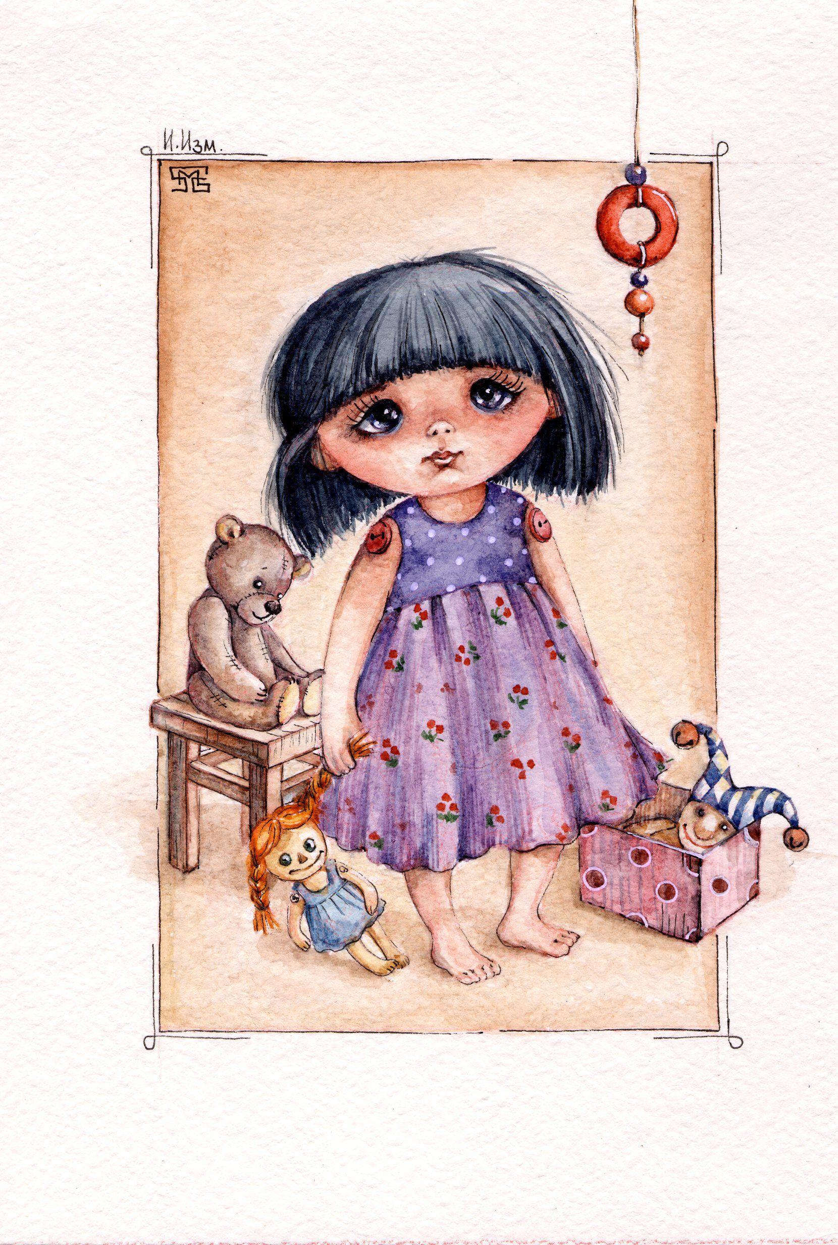 по мотивам работ Елены Керп открытка на заказ акварель куклы dolls waterolor postcard