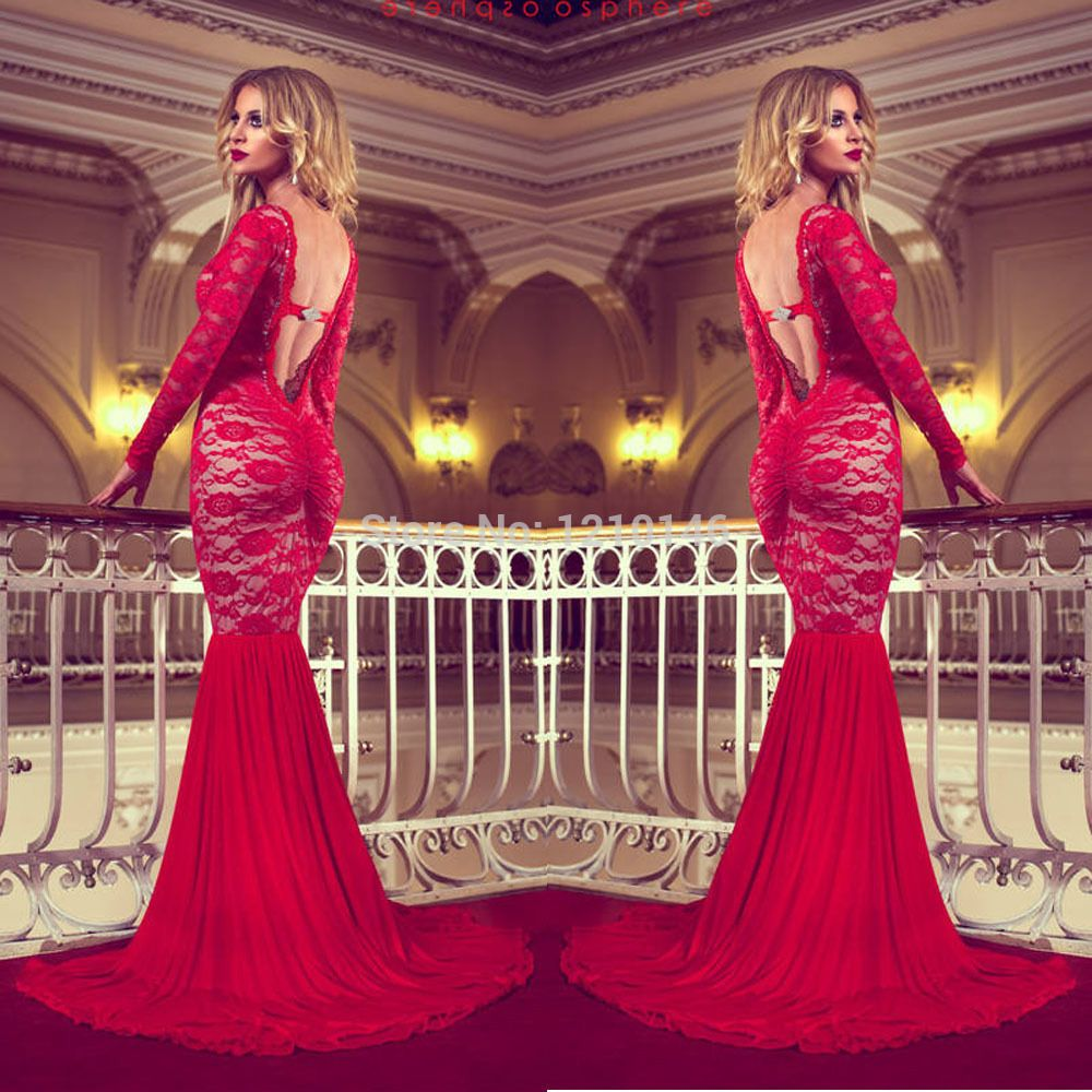 sexy long sleeve backless red mermaid lace prom dressin prom
