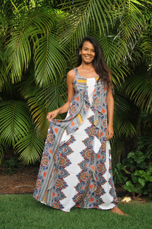 Womens Dress Boho Long Dress W Frills Summer Dress Ethno Print Dress Maxi Dress W Ruffles Volant K Bohemian Dresses Long Boho Dresses Long Womens Dresses [ 3000 x 2000 Pixel ]